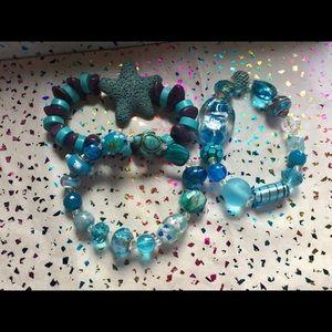 Handcrafted 3 stretch bracelets, glass etc beads
